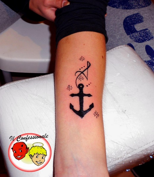 Amazing Black Ink Anchor Tattoo