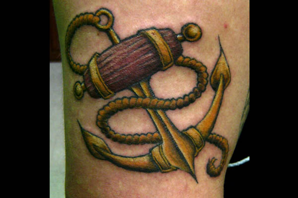Amazing Golden Anchor Tattoo