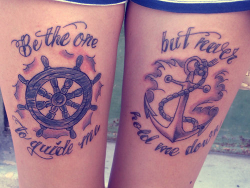 Ship Steering Wheel & Anchor Tattoo On Thigh