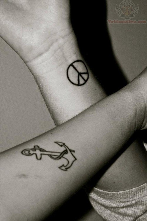 Anchor & Peace Sign Tattoo