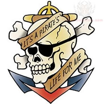 Anchor & Pirate Skull Tattoo Design