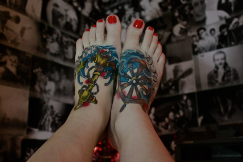 Anchor & Ship Steering Wheel Tattoo On Feet