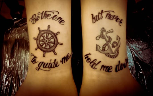 Anchor & Ship Steering Wheel Tattoo