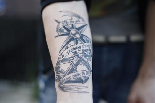Anchor Tattoo With Banner & Nautical Star