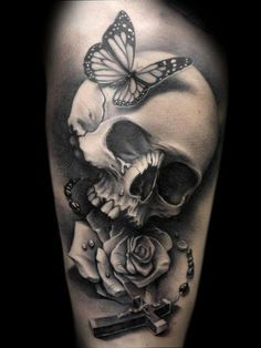 Anchor Tattoo With Rose Skull & Butterfly