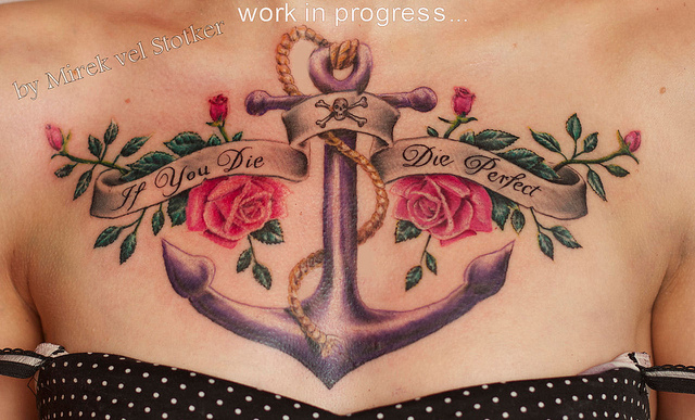 Anchor With Rope Banner & Roses Tattoo On Chest
