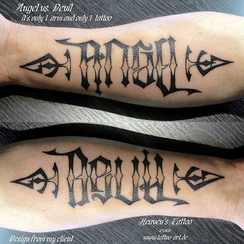 Angel & Devil Ambigram Tattoo