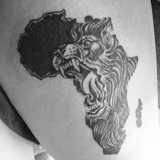 Angry African Lion Face Tattoo