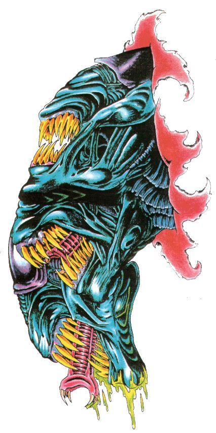 Angry Alien Face Tattoo Design