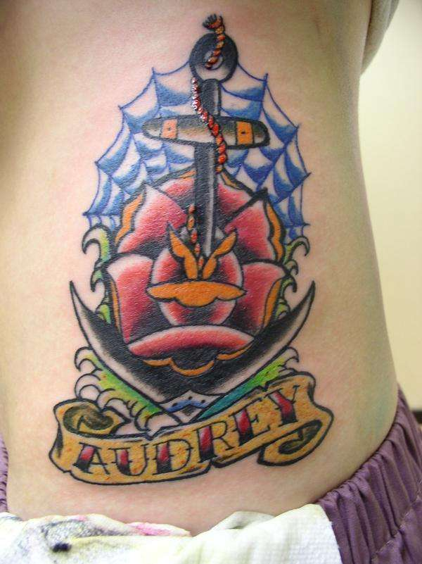 Audrey Anchor & Rose Traditional Tattoo