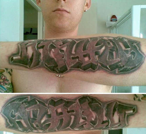 Awesome Family Matters Ambigram Tattoo