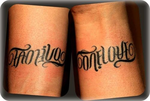 Awesome Family One Love Ambigram Tattoo