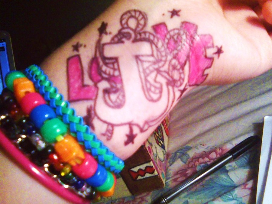 Awesome Love Anchor Tattoo