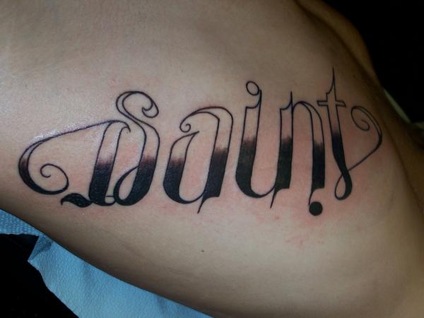Awesome Saint Ambigram Tattoo