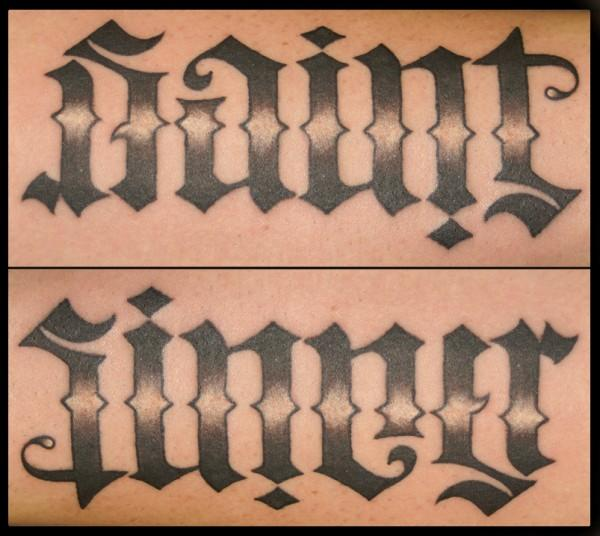 Awesome Saint & Sinner Ambigram Tattoo