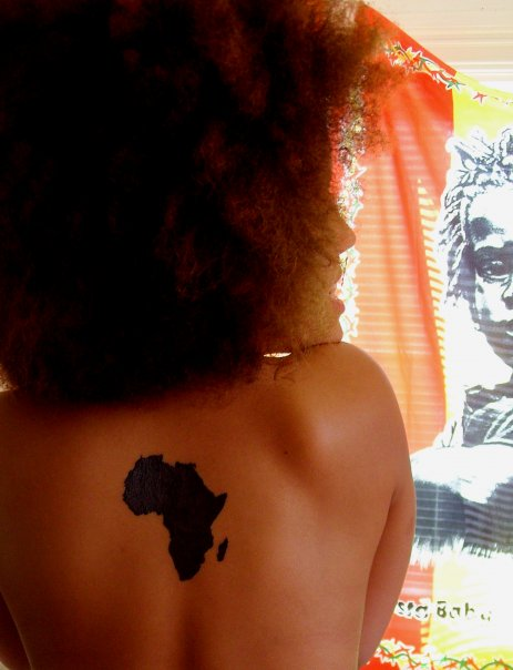 Black Ink African Map Tattoo On Woman Back