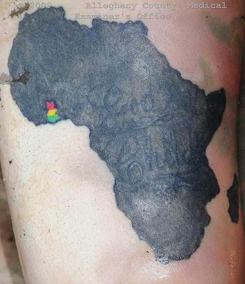 Black Ink African Map Tattoo