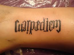 Carpe Diem Ambigram Tattoo