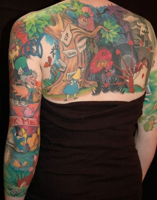 Colorful Alien World Tattoo On Back And Arms