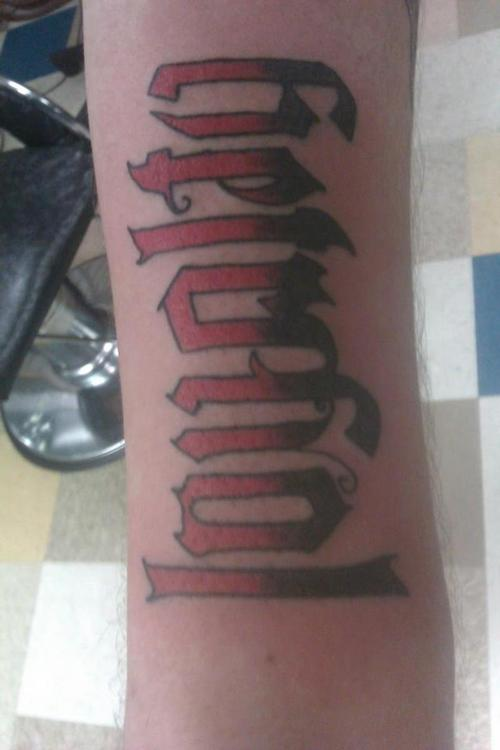 Colorful Loyalty Ambigram Tattoo Design
