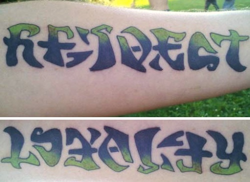 Colorful Respect And Loyalty Ambigram Tattoo