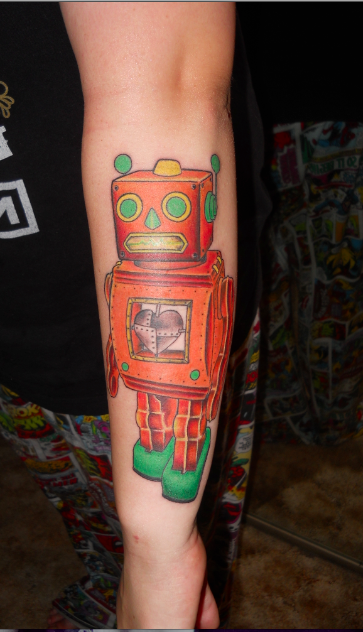 Colorful Robot Alien Tattoo On Arm