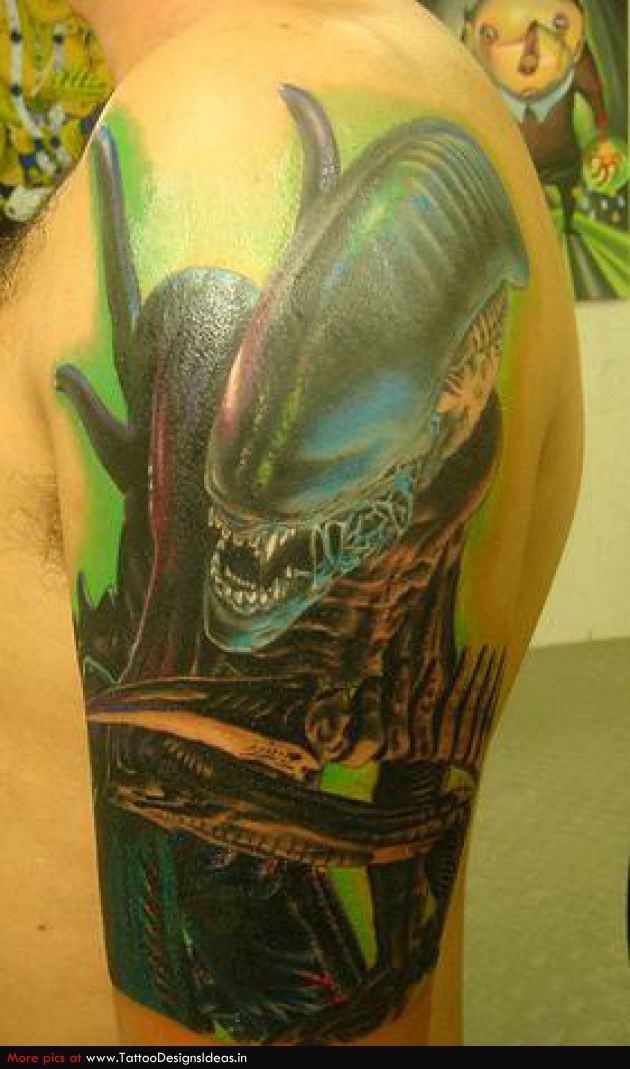 Crawling Half Sleeve Alien Tattoo