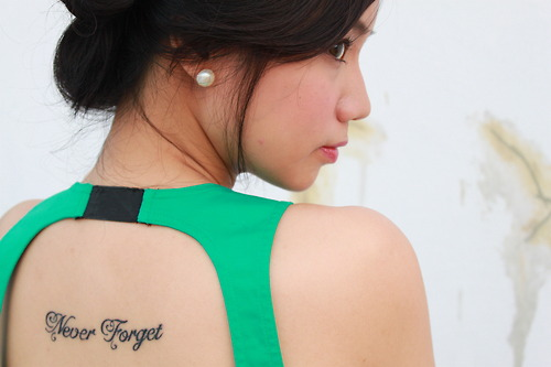 Cute Never Forget Ambigram Tattoo On Back