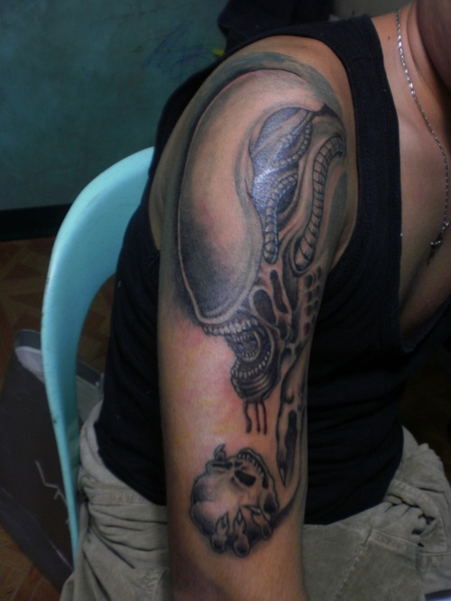 Dangerous Half Sleeve Alien Snake Tattoo