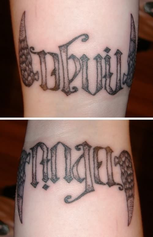 Devil & Angel Ambigram Tattoo