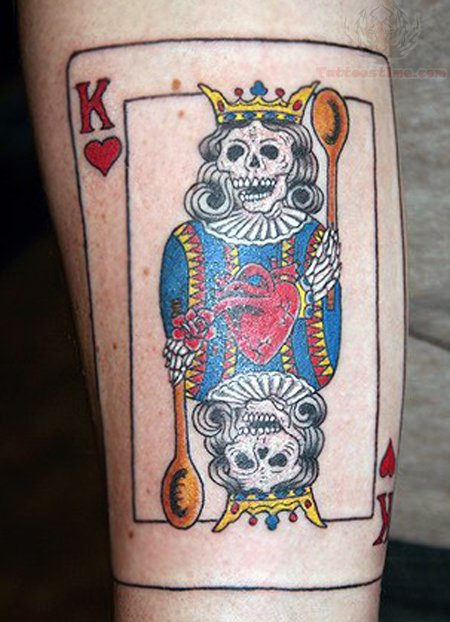 Devil King Alien Skull Card Tattoo