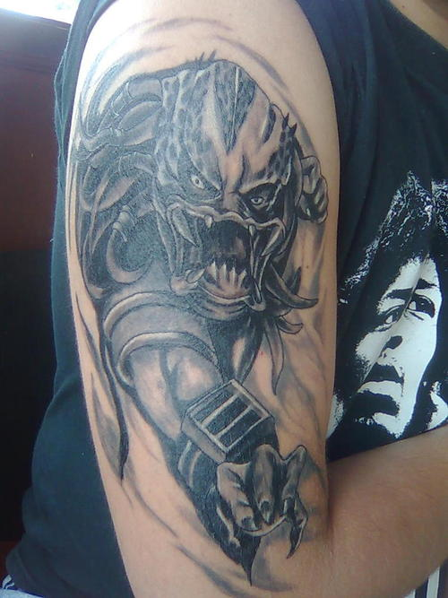 Evil Alien Half Sleeve Tattoo