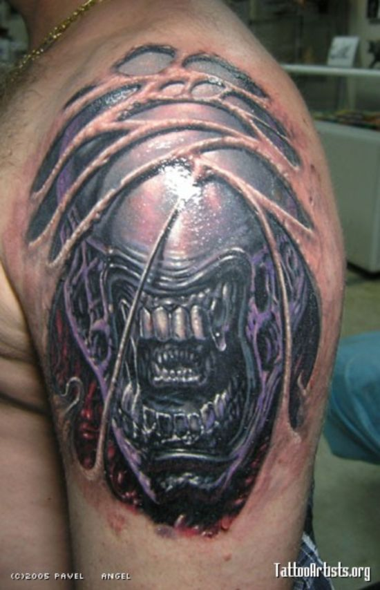 Evil & Scary Alien Tattoo Design For Men