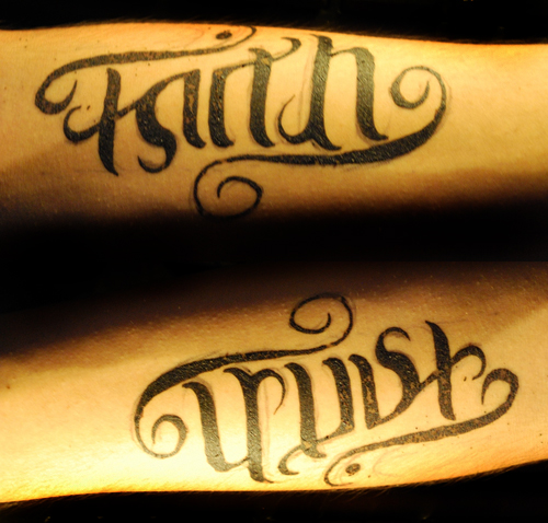 Faith & Trust Ambigram Tattoo Design