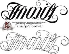 Family Forever Ambigram Tattoo Design