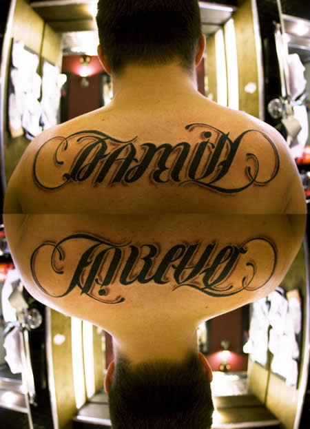 Family Forever Ambigram Tattoo On Back
