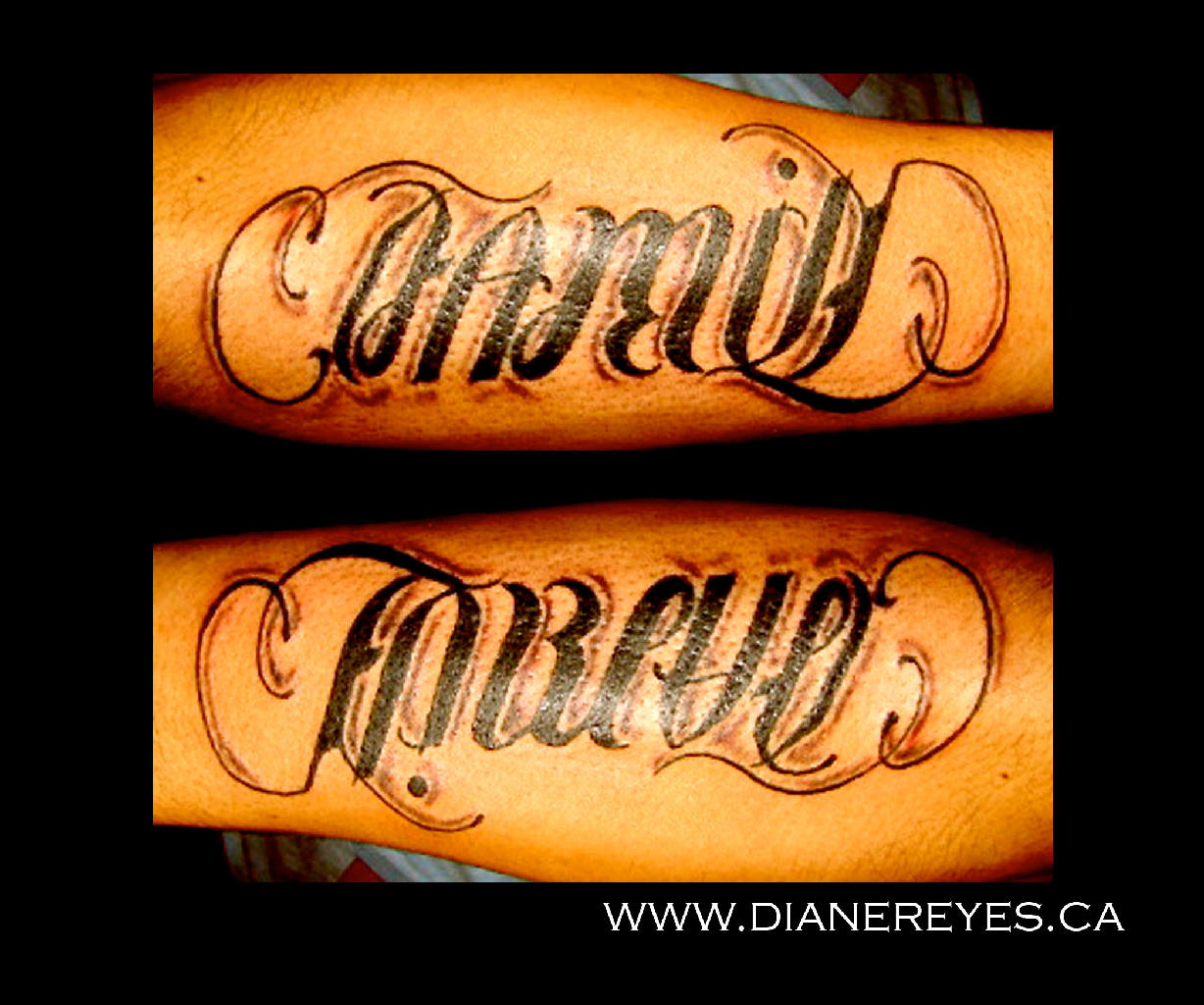 Family Forever Ambigram Tattoo