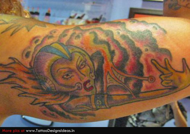 Female Alien Tattoo On Arm