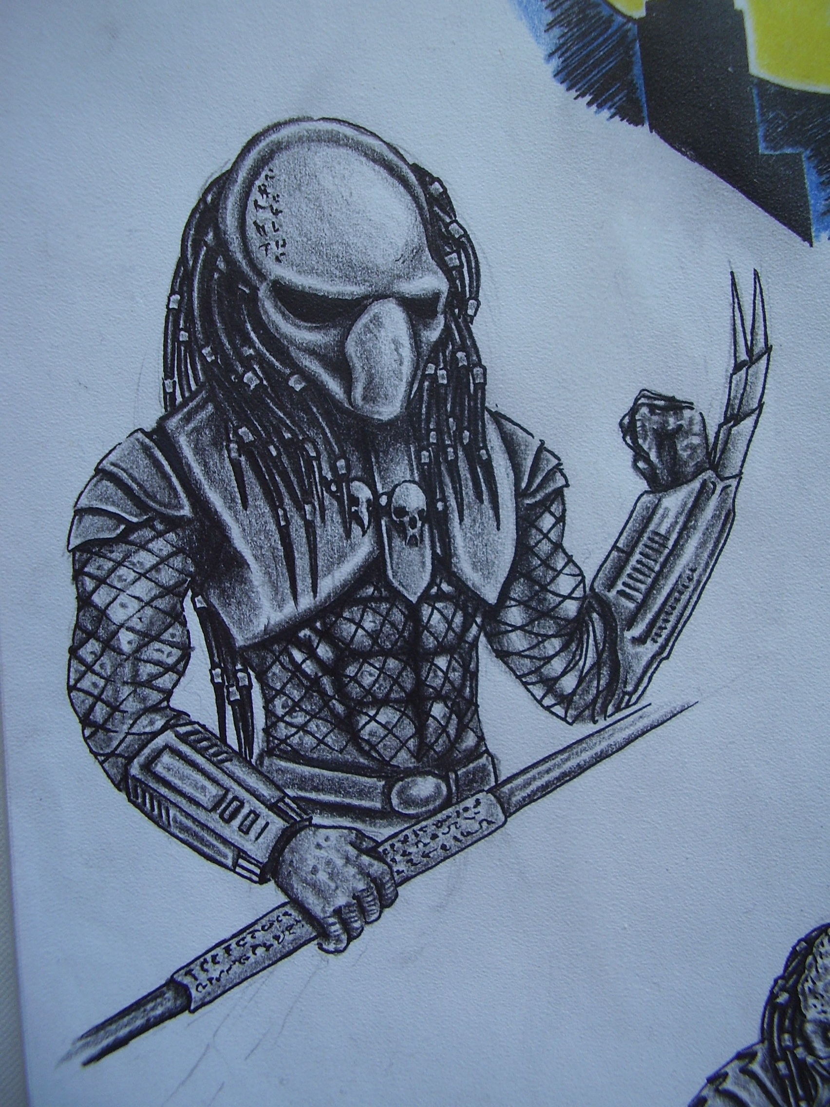 Fight Alien Predator Tattoo Sketch