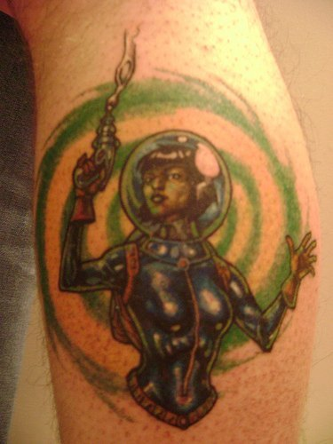 Fighter Female Alien Tattoo