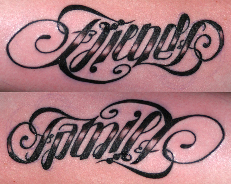 Friends Family Ambigram Tattoo Desings