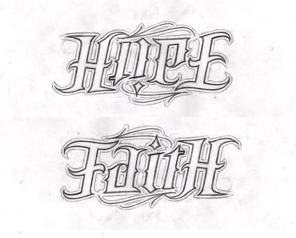 Hope Faith Ambigram Tattoo Design