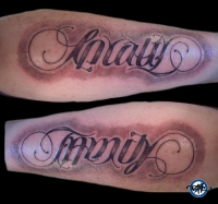 Loyalty Family Ambigram Tattoo On Arms