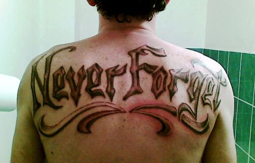 Never Forget Ambigram Tattoo Design