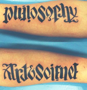 Philosophy Art & Science Ambigram Tattoo