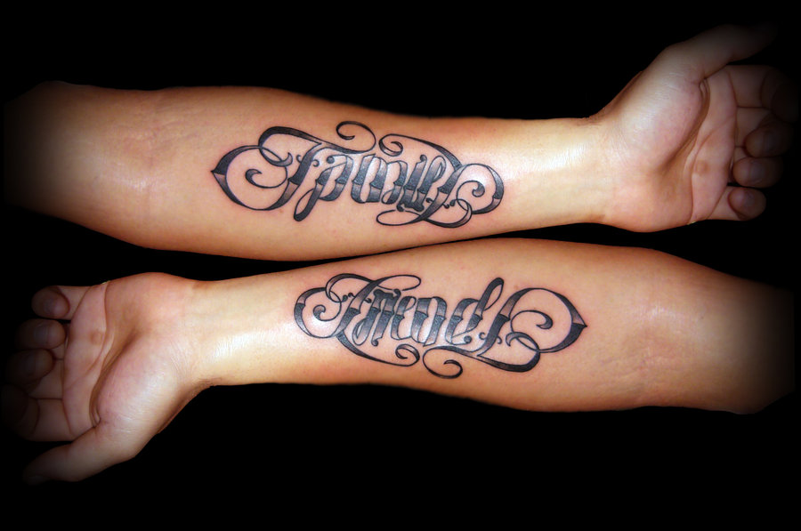 Stunning Family & Friends Ambigram Tattoo