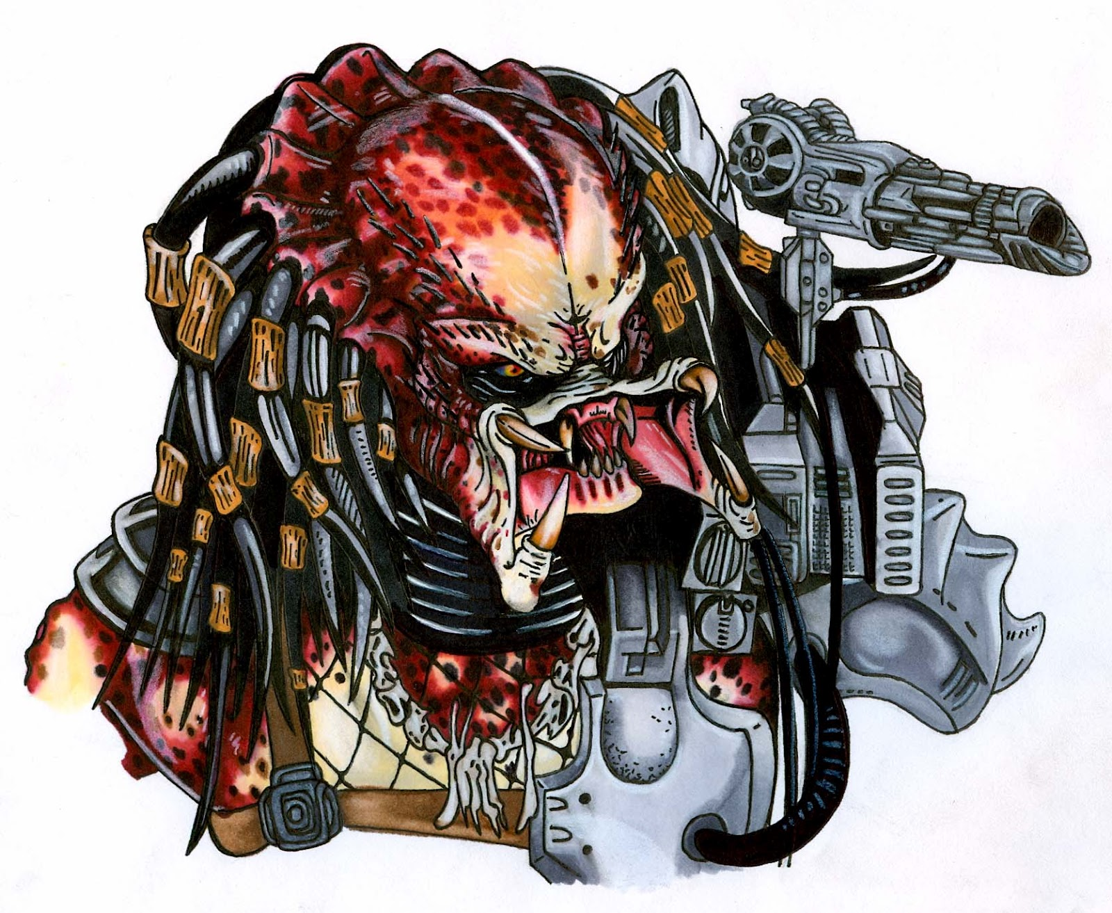 Terrifying Alien Predator Tattoo Design