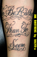 To Be Rather Than To Seem Ambigram Tattoo