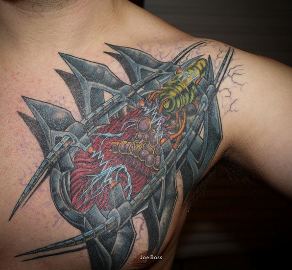 3D Robotic Armor Biomechanical Tattoo On Chest