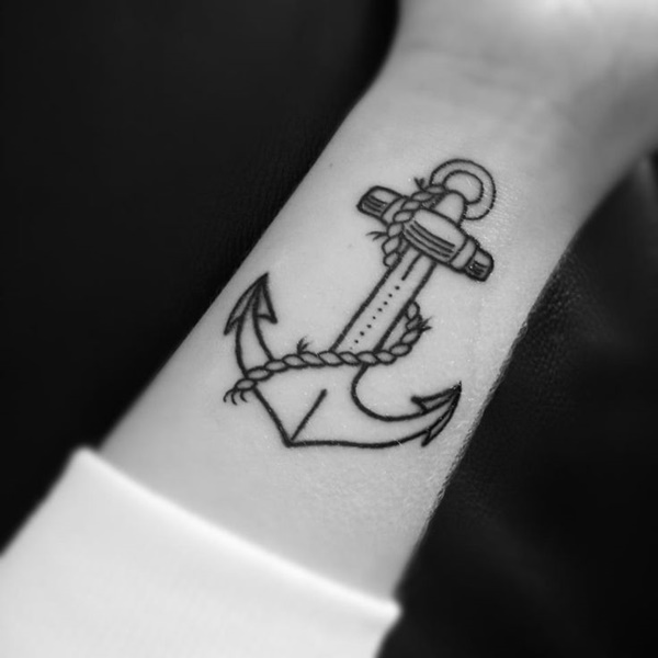 Anchor Outline Tattoo
